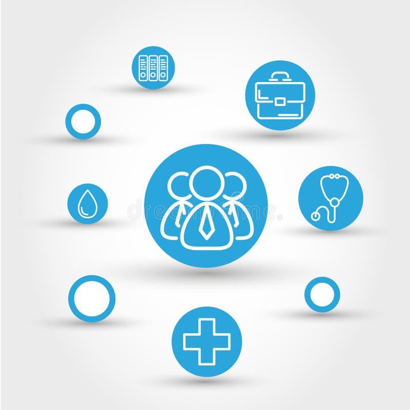 Concetto del cerchio di sanità con la gente illustrazione vettoriale