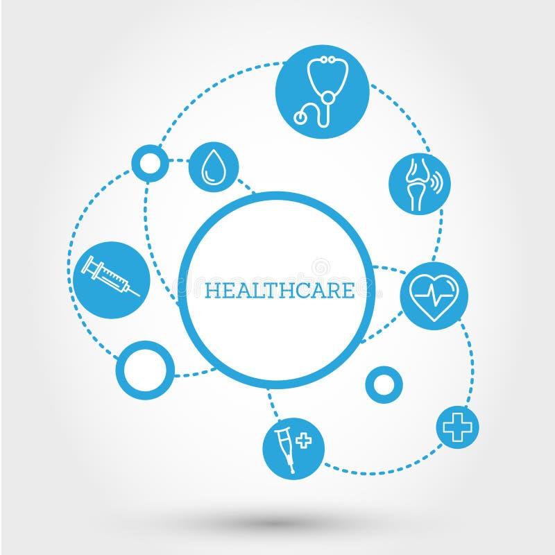 Concetto del cerchio di sanità con le pillole illustrazione vettoriale