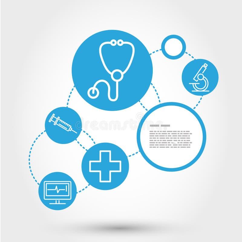 Concetto del cerchio di sanità con lo stetoscopio royalty illustrazione gratis