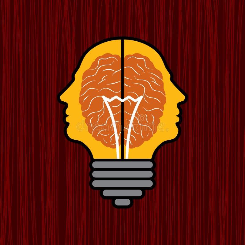 Concetto del cervello con la lampadina come soluzione al problema royalty illustrazione gratis