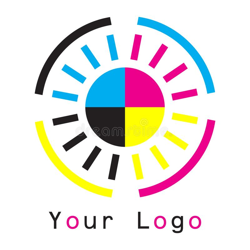Concetto del cmyk di logo di Sun su fondo bianco illustrazione vettoriale