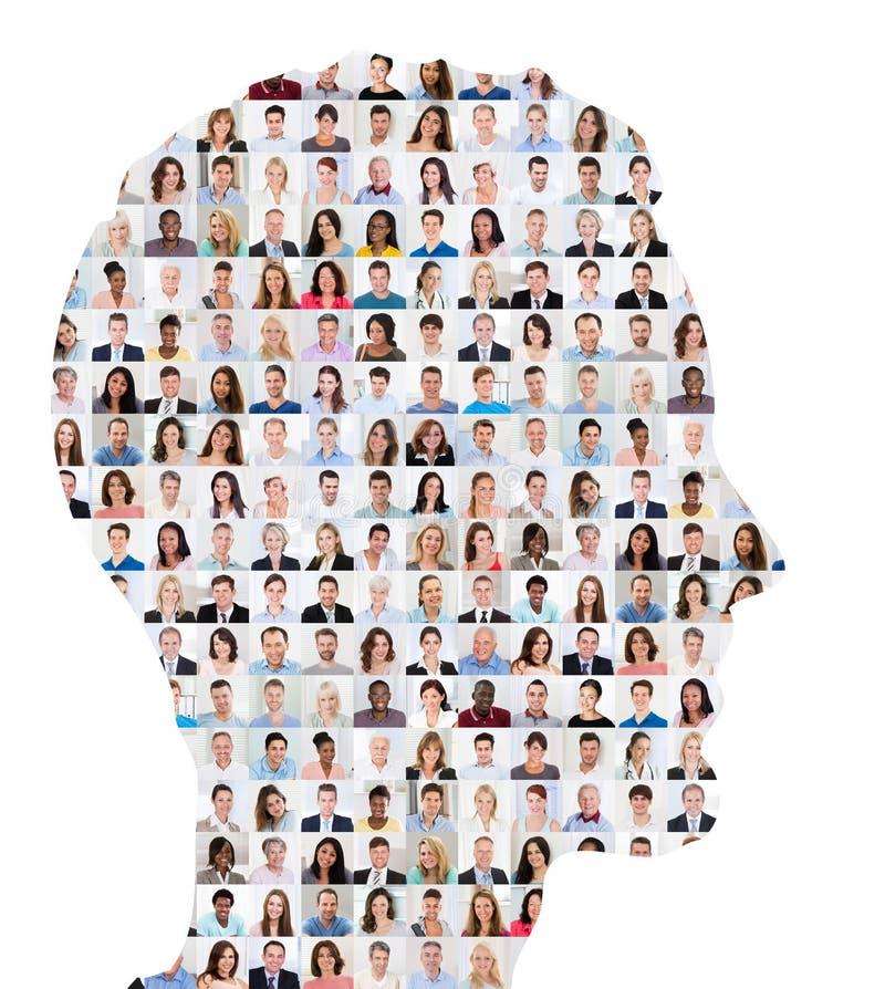 Concetto del collage della gente su viso umano fotografia stock