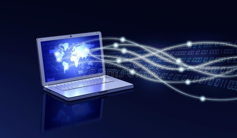 Concetto del collegamento del computer portatile illustrazione vettoriale