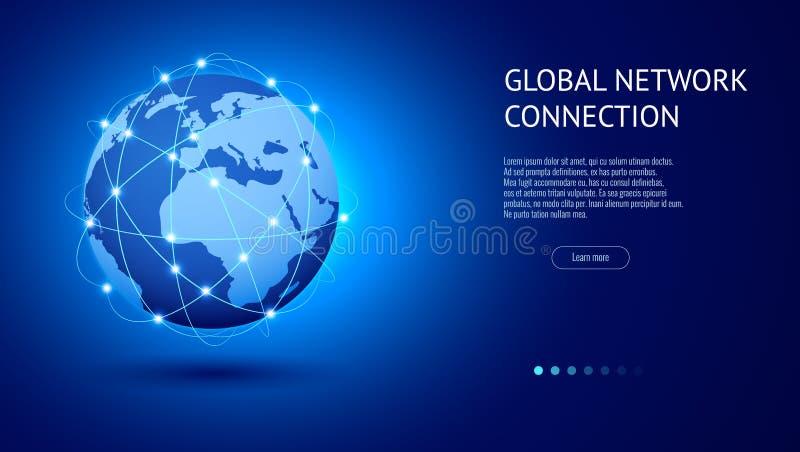 Concetto del collegamento di rete globale Migliore Internet, affare globale Punto della mappa di mondo e linea vettore della comp illustrazione di stock