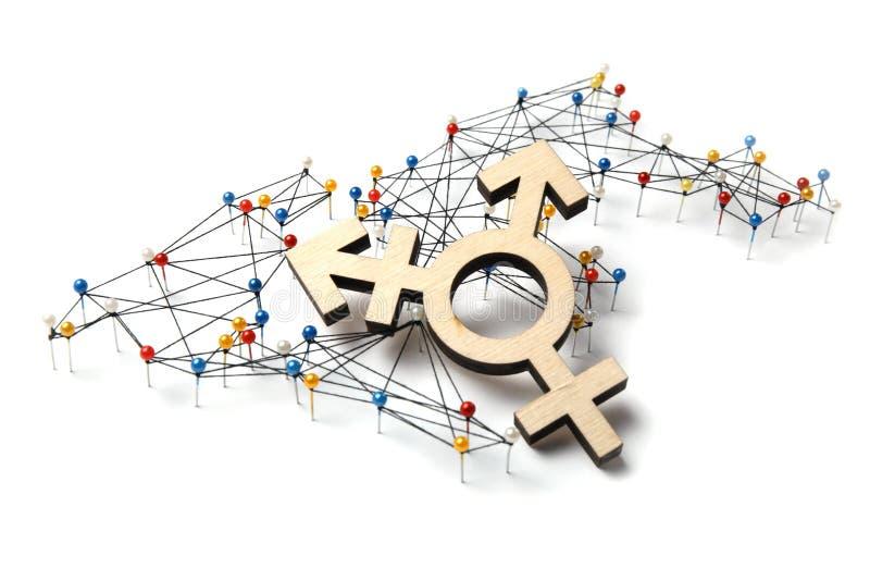 Concetto del collegamento del mondo LGBT LGBTI Simbolo del transessuale sulla mappa di mondo fotografie stock