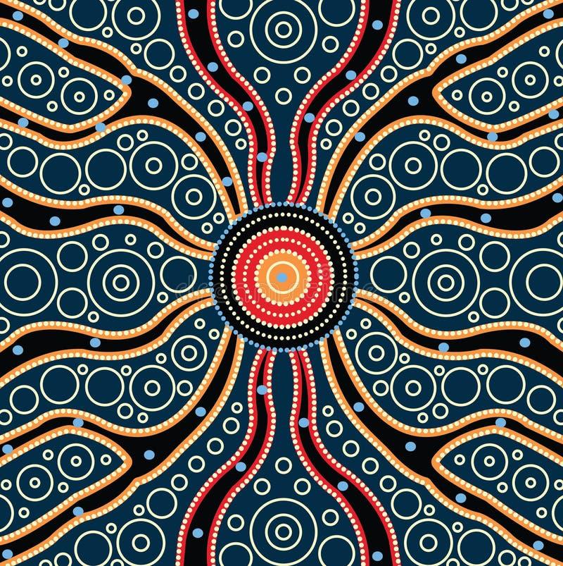 Concetto del collegamento, pittura aborigena di vettore di arte, illustrazione basata su stile aborigeno del fondo del punto illustrazione vettoriale