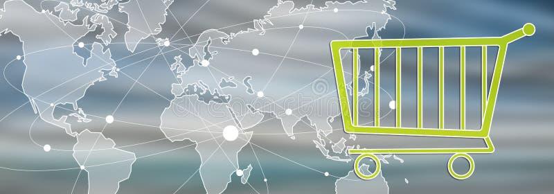 Concetto del commercio elettronico globale royalty illustrazione gratis