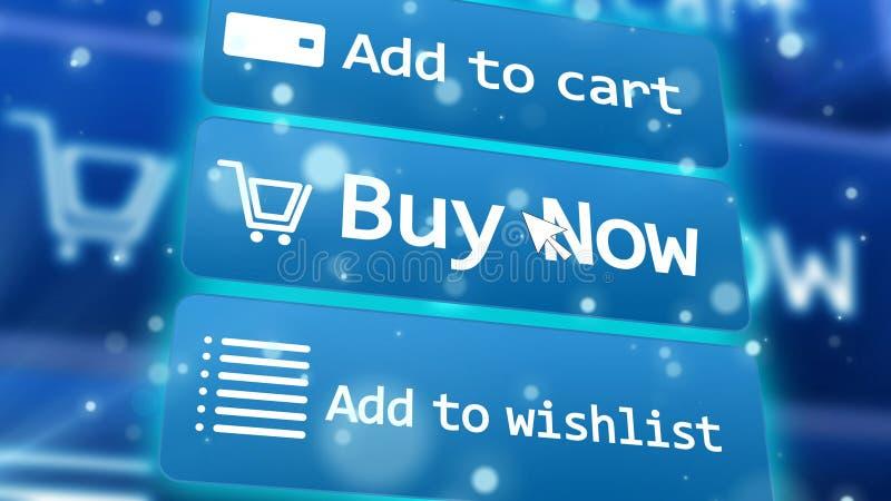 Concetto del commercio elettronico online di acquisto di Internet illustrazione di stock