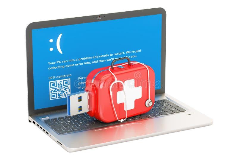 Concetto del computer portatile, di riparazione e di servizio rappresentazione 3d illustrazione vettoriale