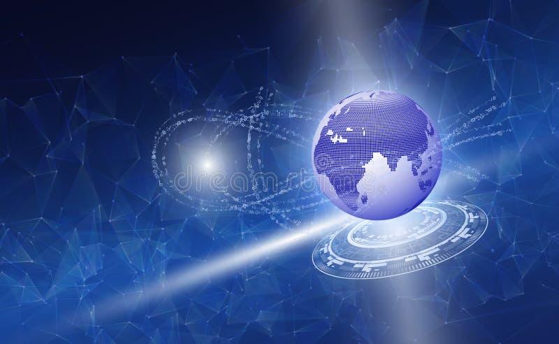 Concetto del concetto di calcolo della nuvola del mondo dei computer del pianeta Terra illustrazione di stock