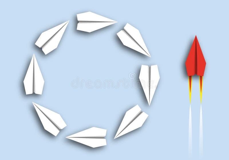 Concetto del confronto fra stupidità ed intelligenza, con gli aerei di origami che corrono nei cerchi ed in un agire rosso dell'a illustrazione di stock
