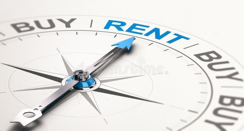 Concetto del consulente di credito Scelta dell'affitto contro le merci d'acquisto royalty illustrazione gratis