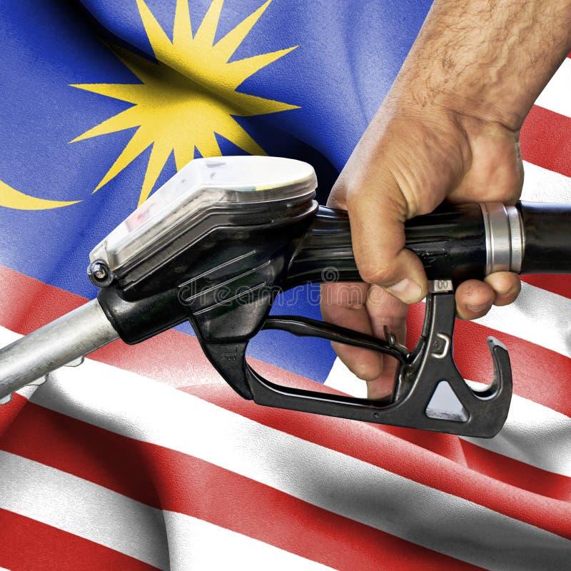 Concetto del consumo della benzina - tubo flessibile della tenuta della mano contro la bandiera della Malesia immagine stock