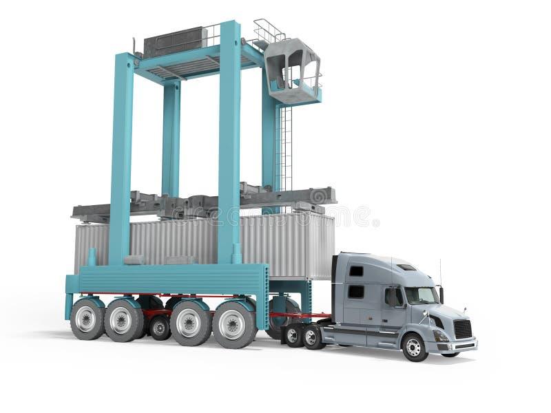 Concetto del contenitore di carico di carico con la gru blu sul camion 3d rendere su fondo bianco con ombra illustrazione di stock