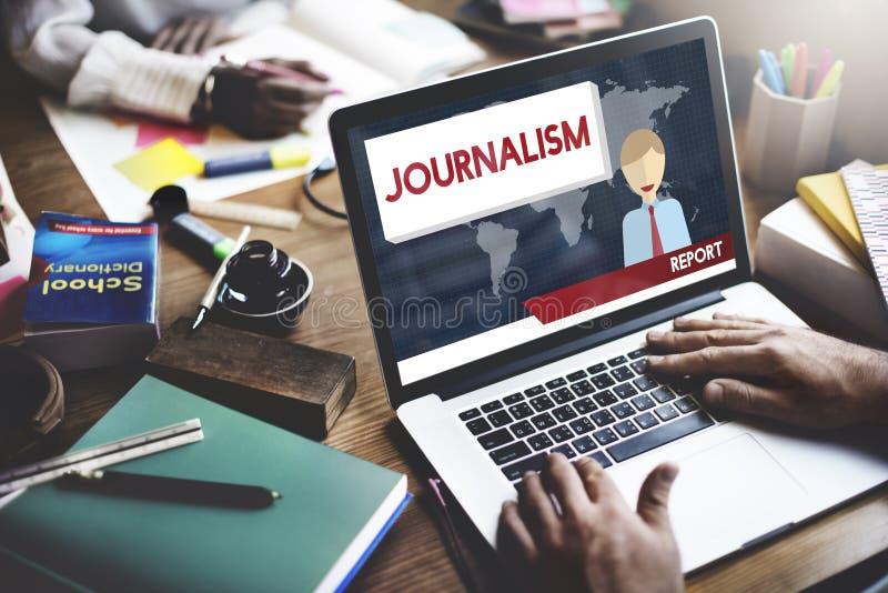 Concetto del contenuto dell'articolo di intervista di notizie di giornalismo immagine stock
