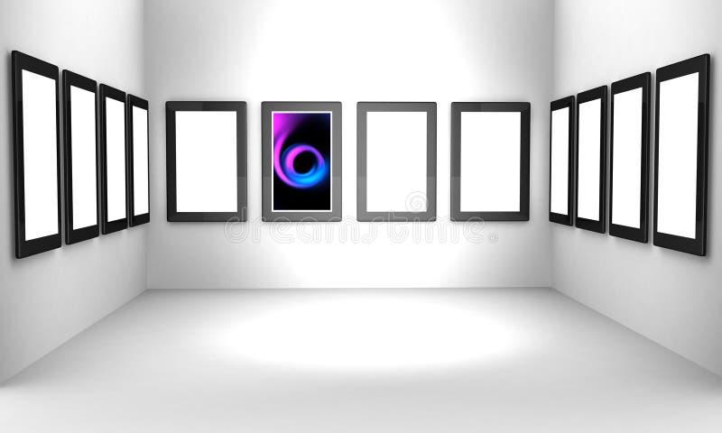 Concetto del corridoio di mostra della galleria di arte illustrazione vettoriale