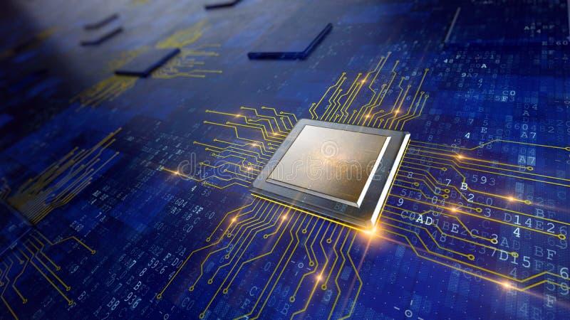 Concetto del CPU delle unità di elaborazione del computer centrale illustrazione di stock