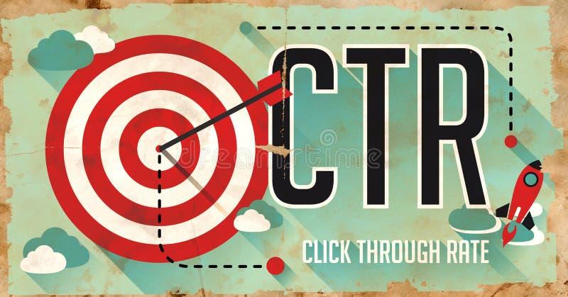 Concetto del CTR. Manifesto nella progettazione piana. royalty illustrazione gratis