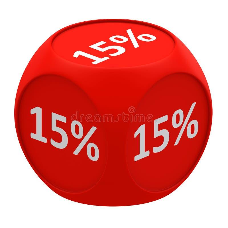 Concetto 15% del cubo di sconto illustrazione di stock