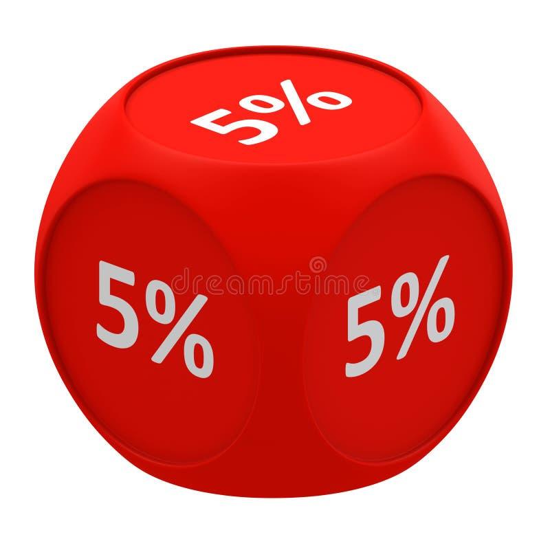 Concetto 5% del cubo di sconto royalty illustrazione gratis