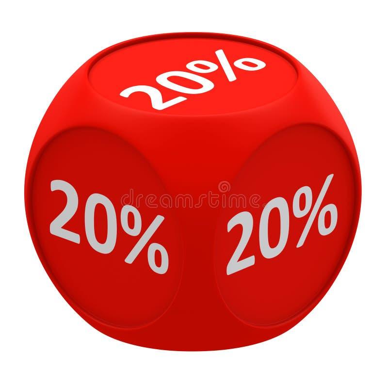 Concetto 20% del cubo di sconto royalty illustrazione gratis