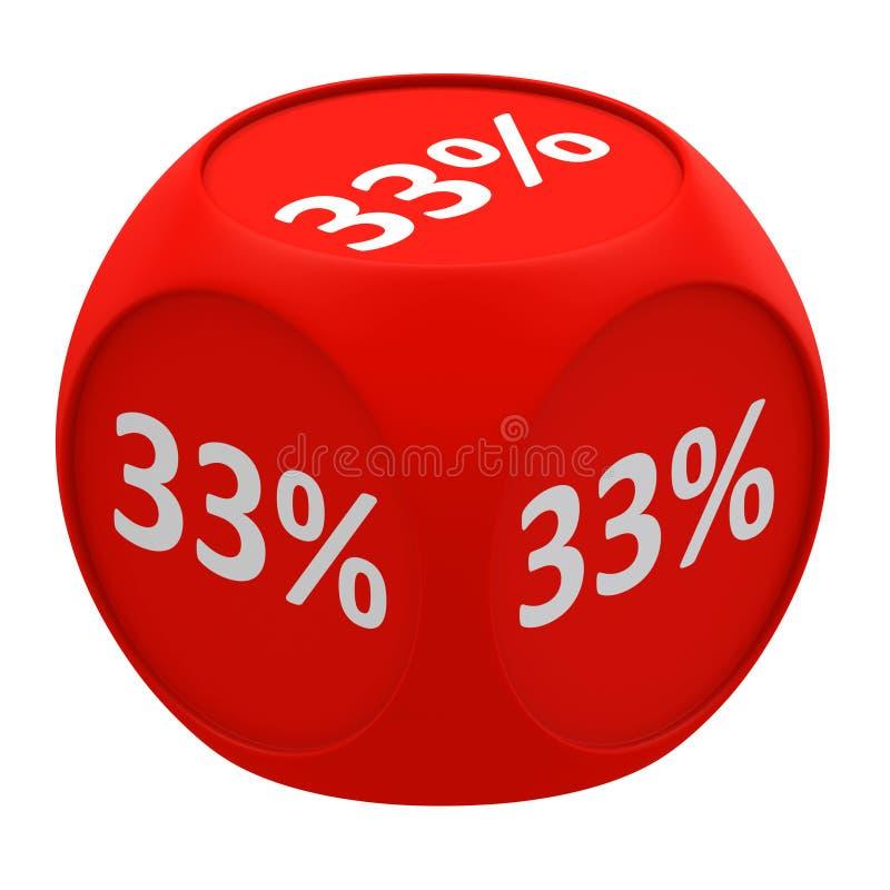 Concetto 33% del cubo di sconto illustrazione di stock