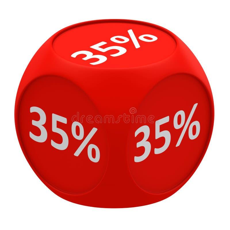 Concetto 35% del cubo di sconto royalty illustrazione gratis