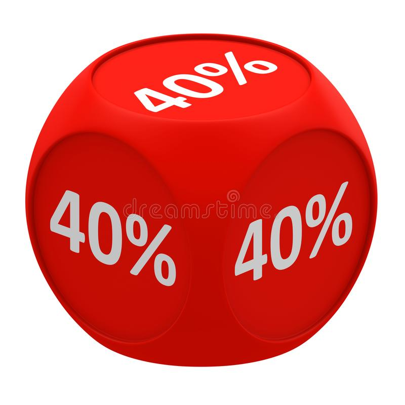 Concetto 40% del cubo di sconto royalty illustrazione gratis