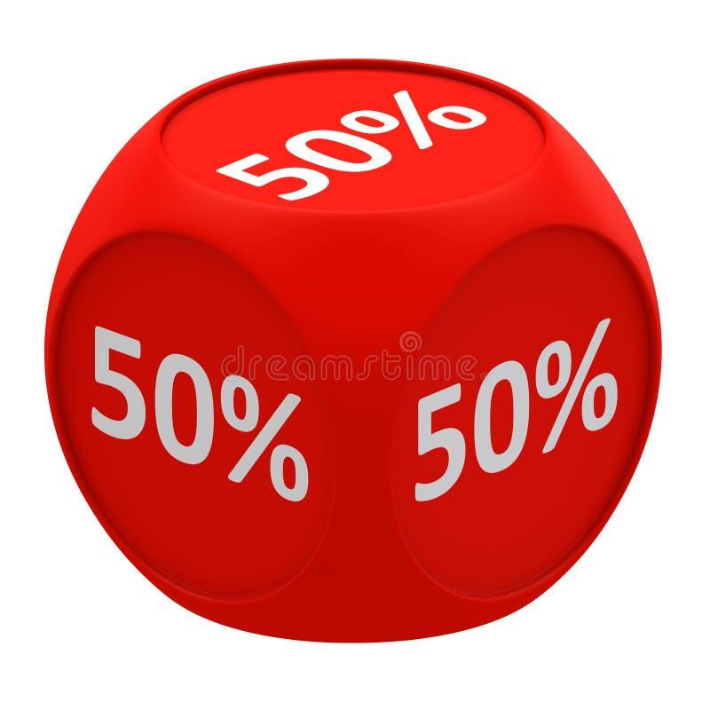 Concetto 50% del cubo di sconto royalty illustrazione gratis