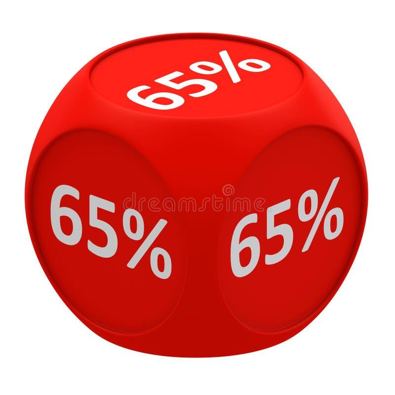 Concetto 65% del cubo di sconto illustrazione di stock