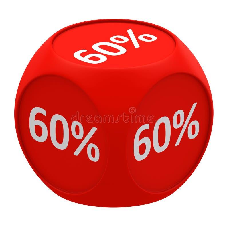 Concetto 60% del cubo di sconto illustrazione vettoriale