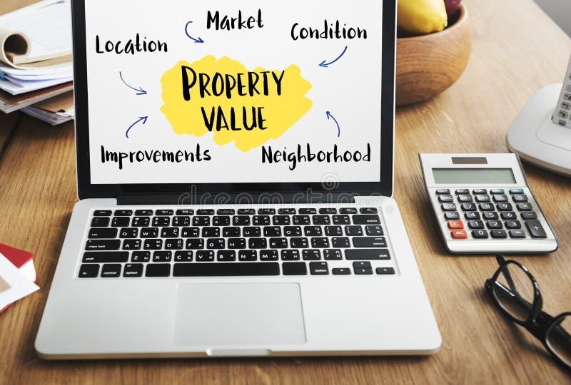 Concetto del diagramma del mercato di valore di una proprietà immagine stock
