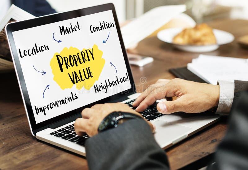 Concetto del diagramma del mercato di valore di una proprietà immagini stock