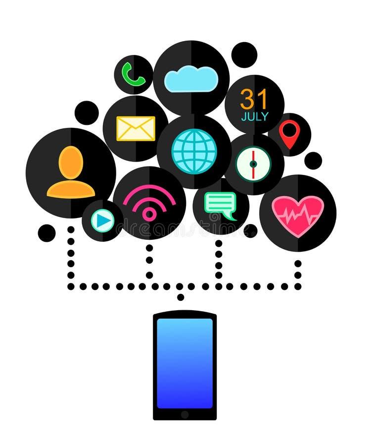 Concetto del dispositivo di Smartphone con le icone di applicazioni (app) Progettazione piana Illustrazione di vettore royalty illustrazione gratis