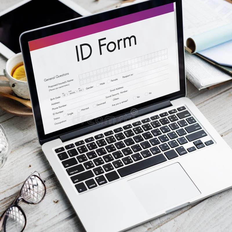 Concetto del documento del contribuente di identificazione della forma dell'identificazione fotografia stock libera da diritti