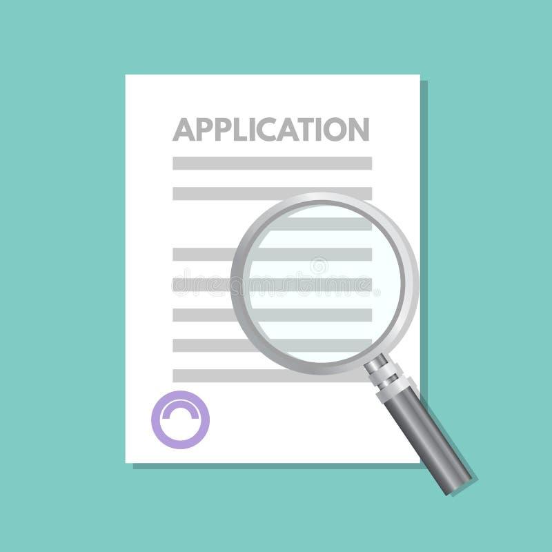 Concetto del documento del modulo di domanda di prestito Illustrazione di vettore royalty illustrazione gratis
