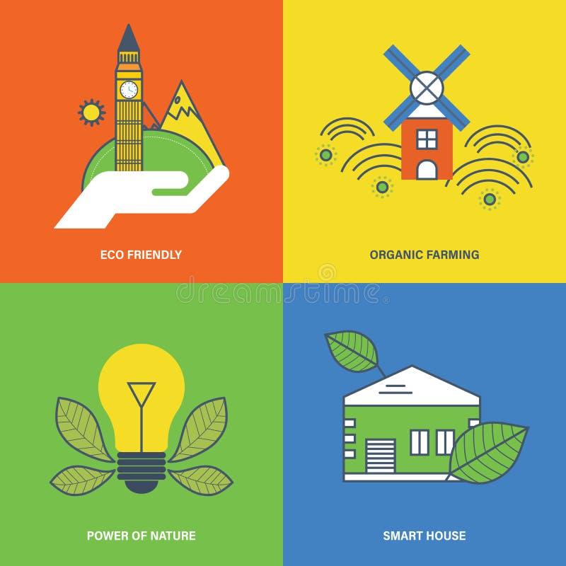Concetto del eco amichevole, agricoltore organico, natura di potere, casa intelligente illustrazione vettoriale