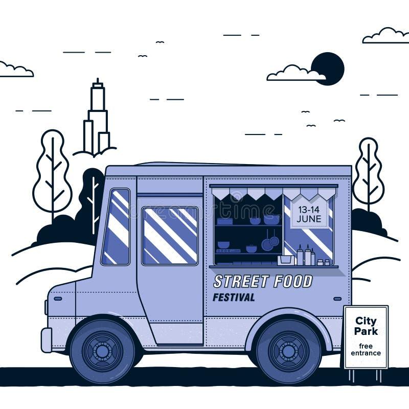 Concetto del festival dell'alimento della via Camion porpora dell'alimento Illustrazione variopinta di vettore illustrazione di stock