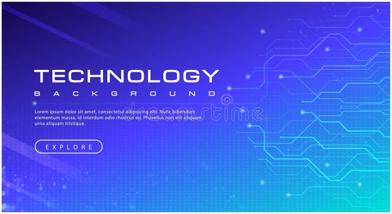 Concetto del fondo del cielo blu dell'insegna di tecnologia con gli effetti della luce royalty illustrazione gratis