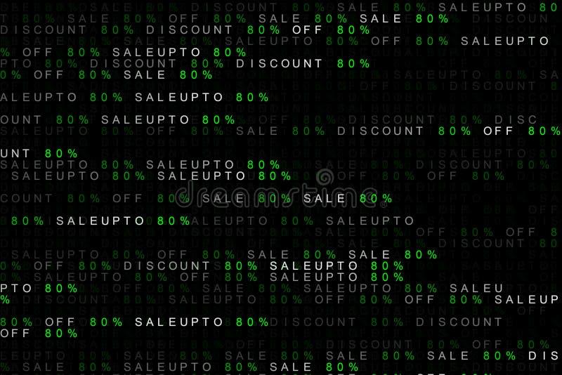 Concetto del fondo di Digital della vendita commercializzante di parola fino a, fuori dalla vendita, sconti 80% o 80 per cento o  illustrazione di stock