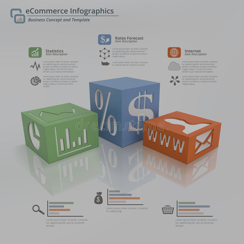Concetto del fondo di Infographic di commercio elettronico royalty illustrazione gratis