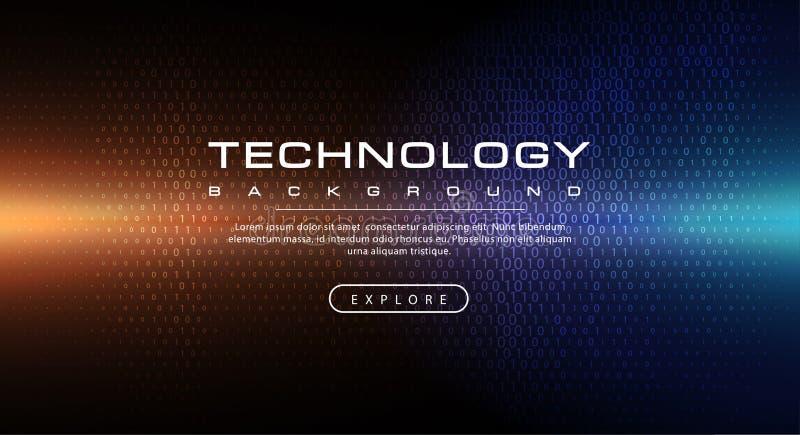 Concetto del fondo di tecnologia con gli effetti della luce astratti del testo di codice binario illustrazione di stock