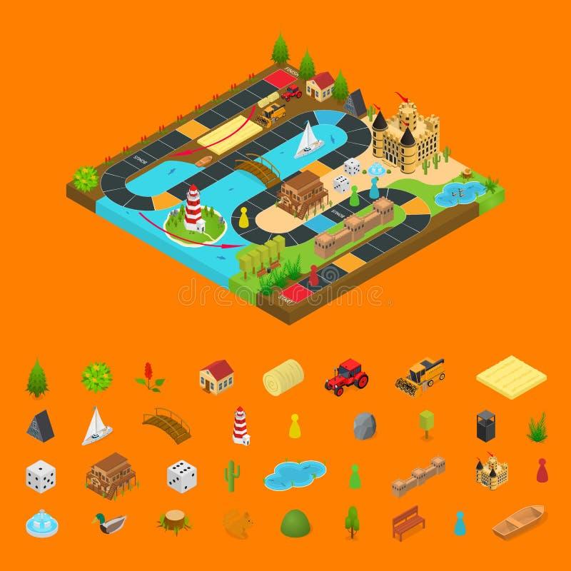 Concetto del gioco da tavolo e vista isometrica degli elementi 3d Vettore illustrazione di stock
