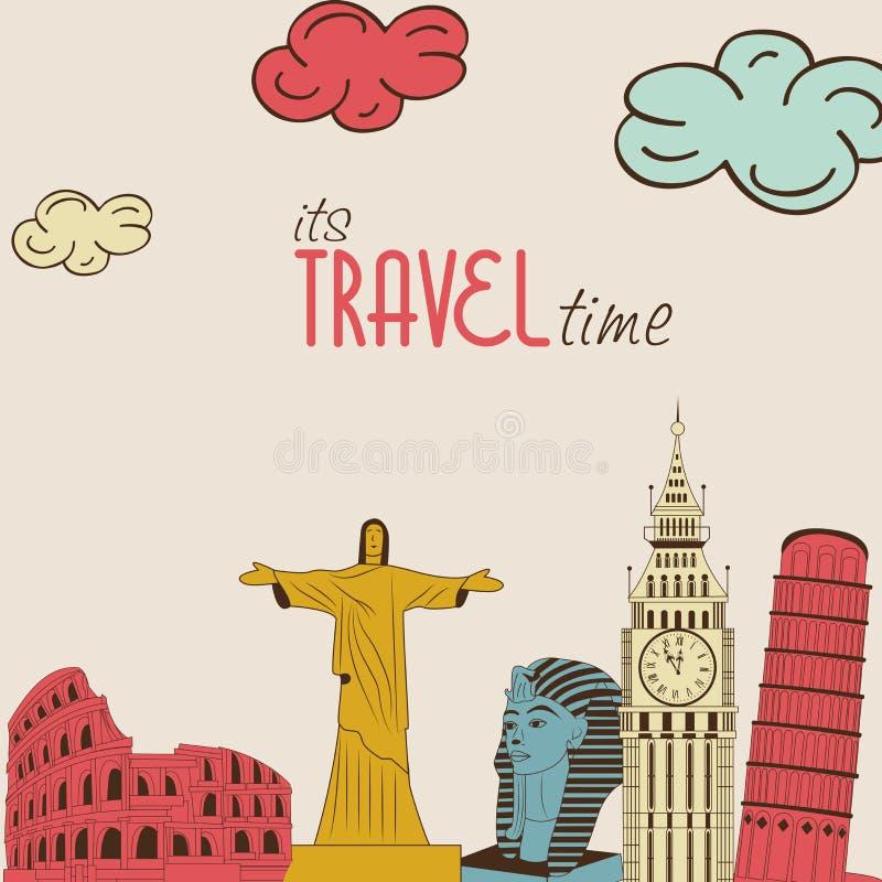 Concetto del giro e di viaggio del mondo con i monumenti illustrazione vettoriale