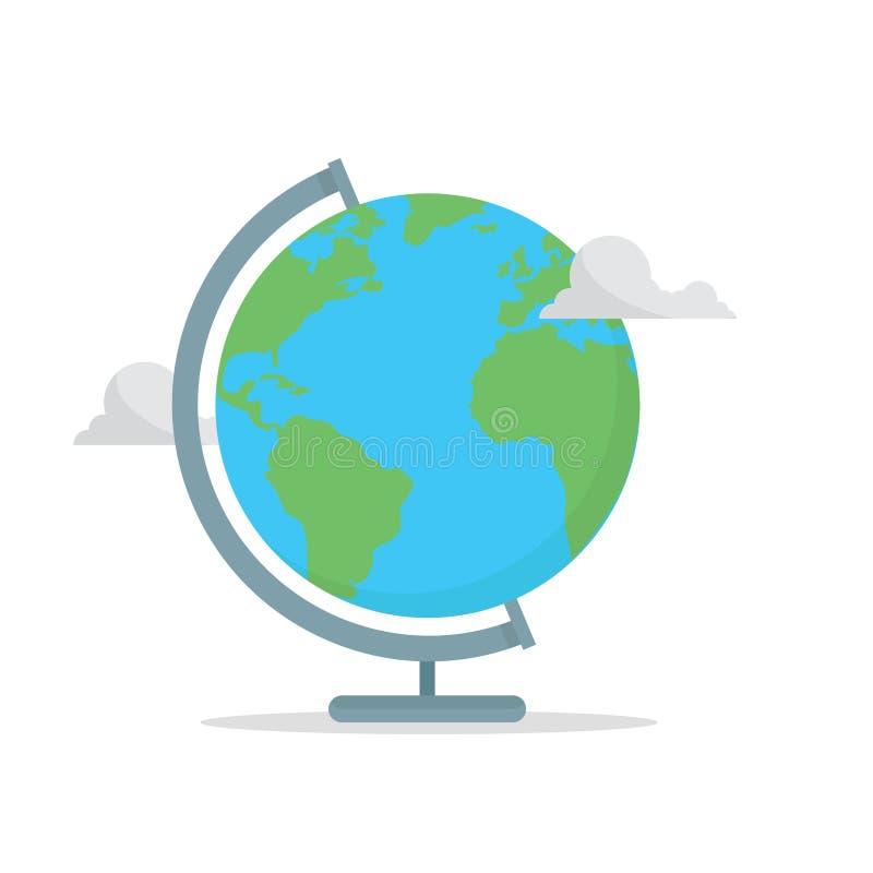 Concetto del globo della scuola Di nuovo al banco Terra con le nubi illustrazione di stock