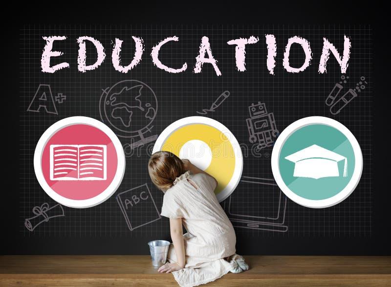 Concetto del grafico dell'icona del libro del cappello della lampadina di parola di istruzione fotografie stock
