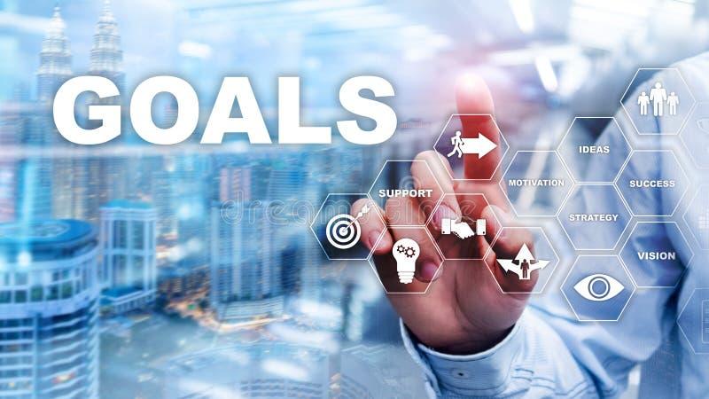 Concetto del grafico di risultato di aspettative di scopi dell'obiettivo Sviluppo di affari a successo ed a crescita crescente immagine stock
