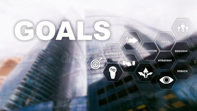 Concetto del grafico di risultato di aspettative di scopi dell'obiettivo Sviluppo di affari a successo ed a crescita crescente immagine stock libera da diritti