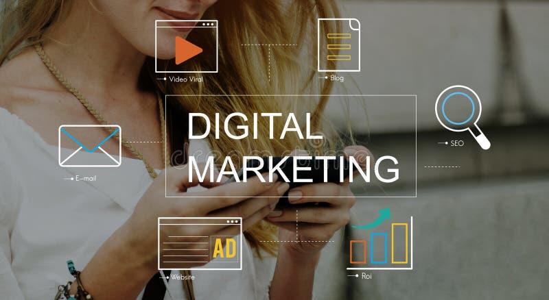 Concetto del grafico di tecnologia di mezzi d'informazione di vendita di Digital fotografia stock