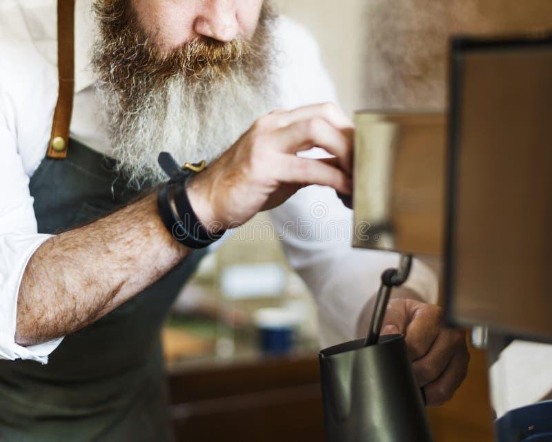 Concetto del grembiule di Appliance Apron Steam di barista del mulino di caffè fotografia stock